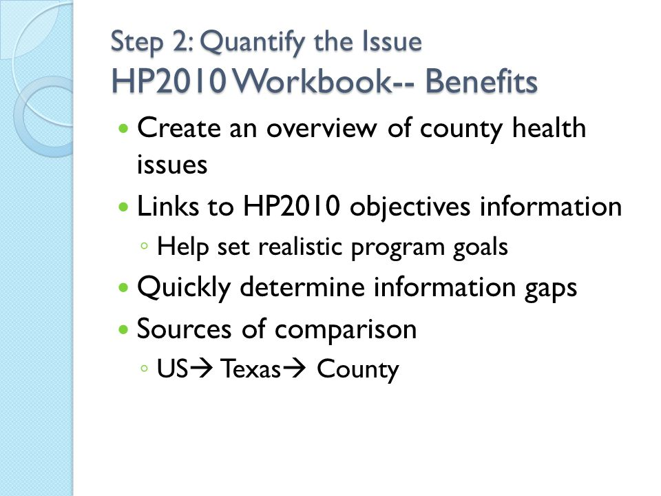 Create an overview of county health issues Links to HP2010 objectives information ◦ Help set realistic program goals Quickly determine information gap