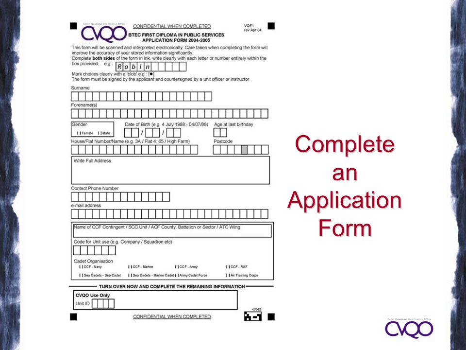 CompleteanApplicationForm