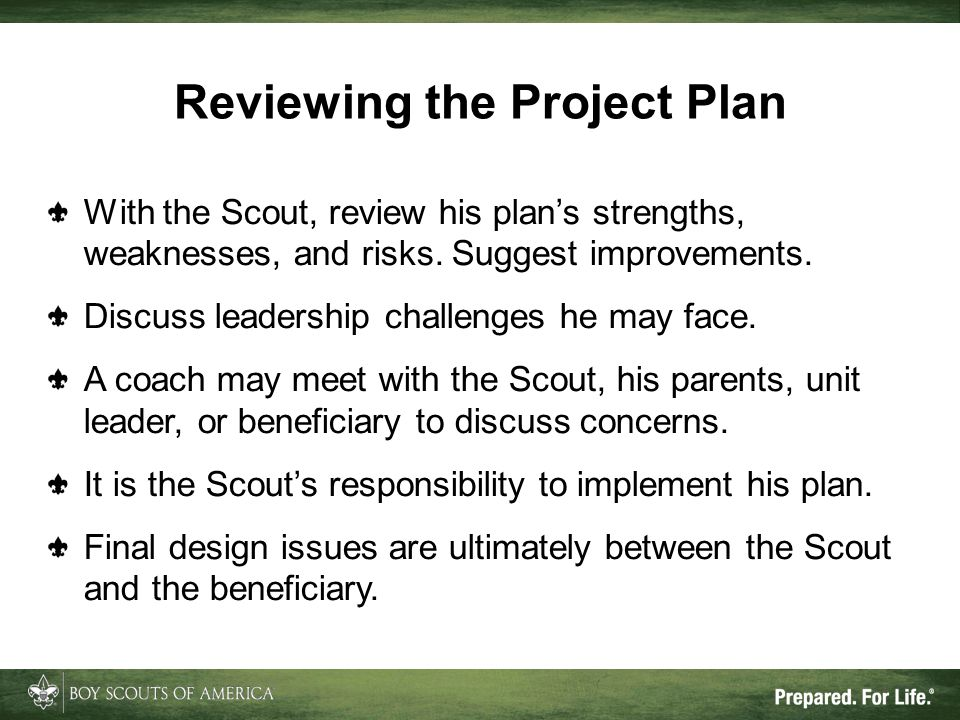 Reviewing the Project Plan With the Scout, review his plan's strengths, weaknesses, and risks. Suggest improvements. Discuss leadership challenges he