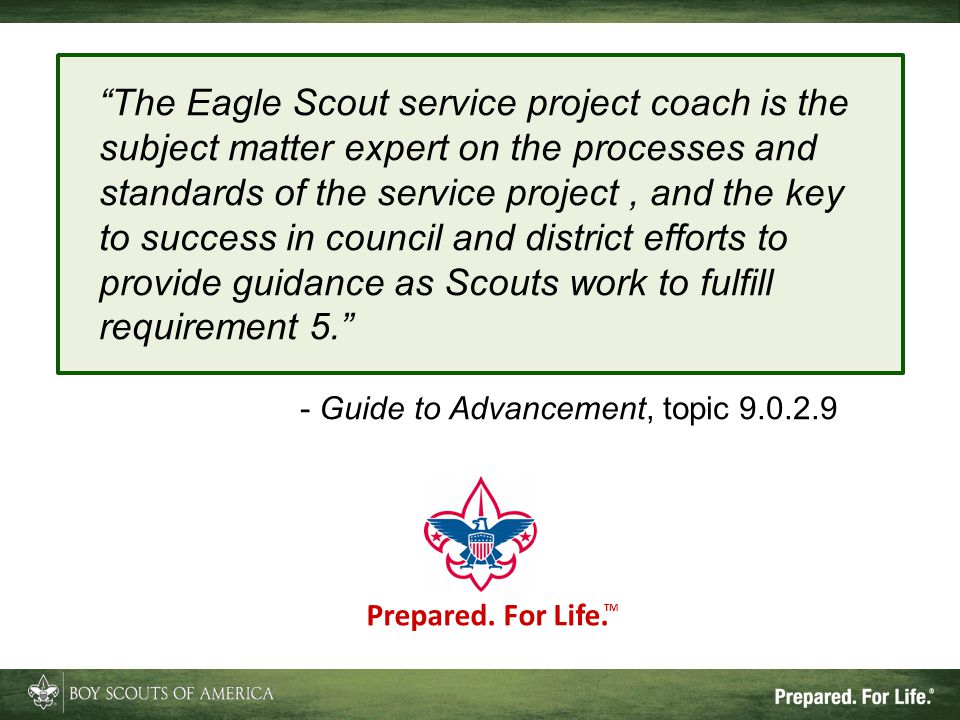 """The Eagle Scout service project coach is the subject matter expert on the processes and standards of the service project, and the key to success in c"