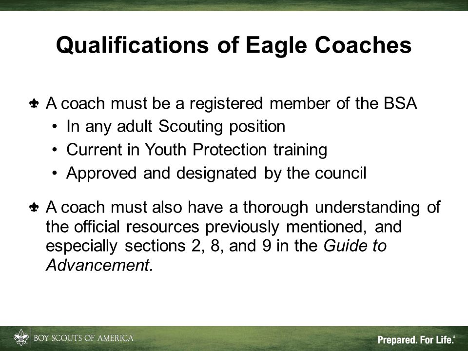 Qualifications of Eagle Coaches A coach must be a registered member of the BSA In any adult Scouting position Current in Youth Protection training App