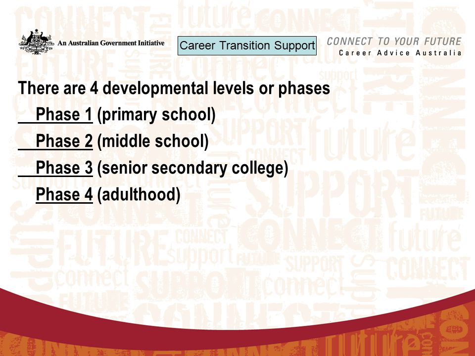 There are 4 developmental levels or phases Phase 1 (primary school) Phase 2 (middle school) Phase 3 (senior secondary college) Phase 4 (adulthood) Career Transition Support