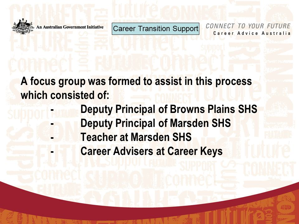 Career Transition Support A focus group was formed to assist in this process which consisted of: -Deputy Principal of Browns Plains SHS -Deputy Principal of Marsden SHS - Teacher at Marsden SHS -Career Advisers at Career Keys