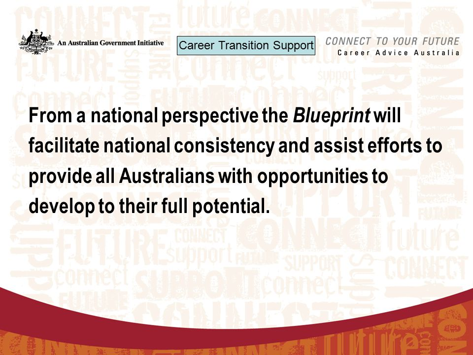 From a national perspective the Blueprint will facilitate national consistency and assist efforts to provide all Australians with opportunities to develop to their full potential.