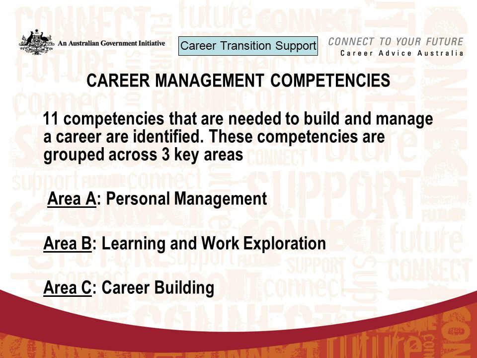 CAREER MANAGEMENT COMPETENCIES 11 competencies that are needed to build and manage a career are identified.
