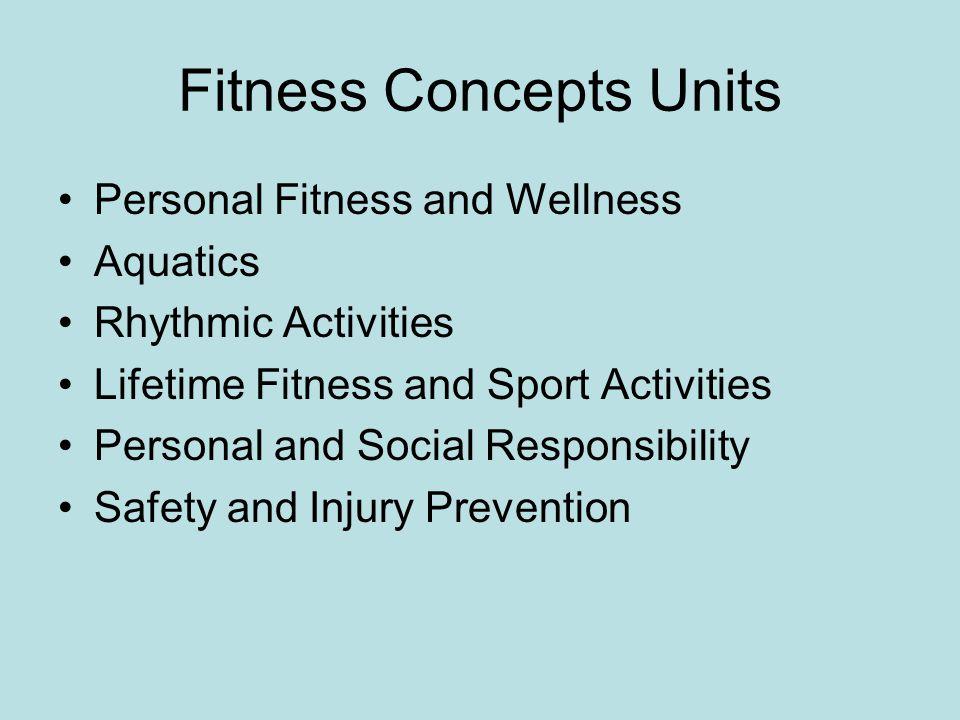 Fitness Concepts Units Personal Fitness and Wellness Aquatics Rhythmic Activities Lifetime Fitness and Sport Activities Personal and Social Responsibi
