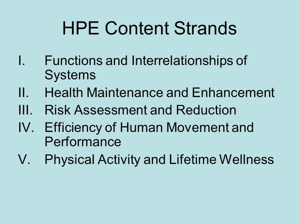HPE Content Strands I.Functions and Interrelationships of Systems II.Health Maintenance and Enhancement III.Risk Assessment and Reduction IV.Efficienc