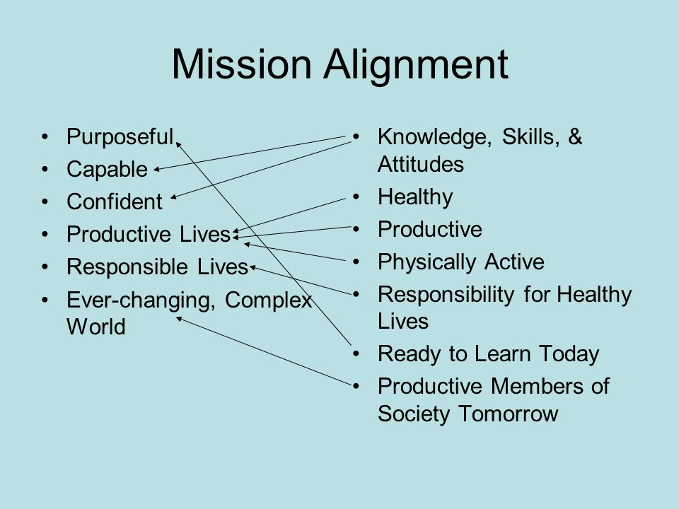 Mission Alignment Purposeful Capable Confident Productive Lives Responsible Lives Ever-changing, Complex World Knowledge, Skills, & Attitudes Healthy