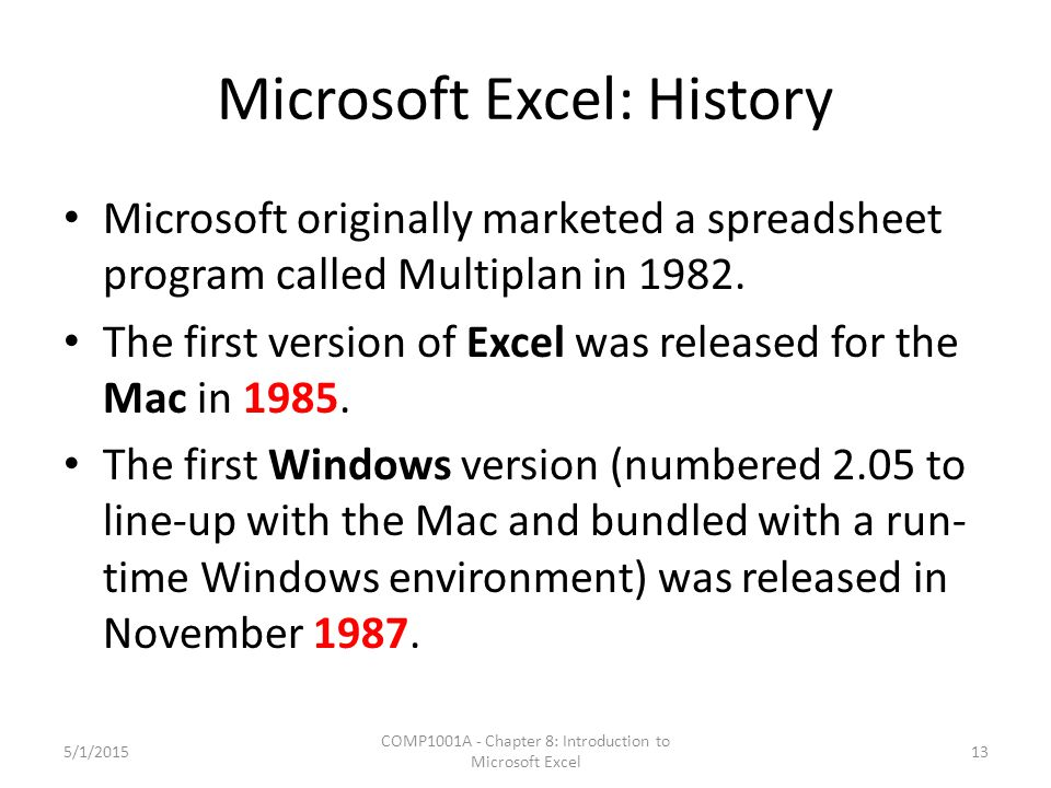 Microsoft Excel: History Microsoft originally marketed a spreadsheet program called Multiplan in 1982. The first version of Excel was released for the