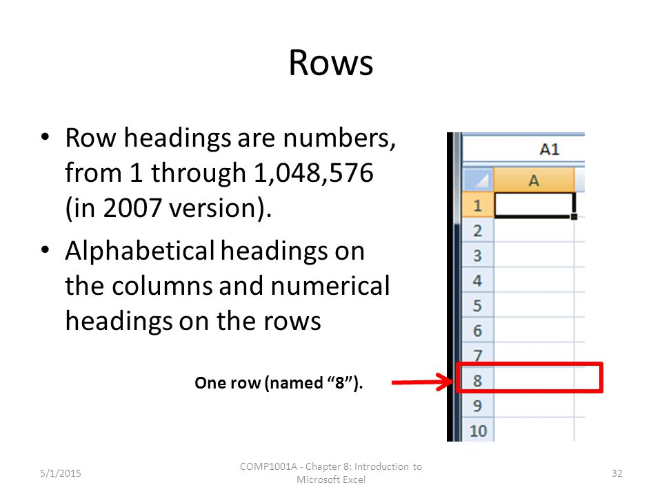 Rows Row headings are numbers, from 1 through 1,048,576 (in 2007 version).
