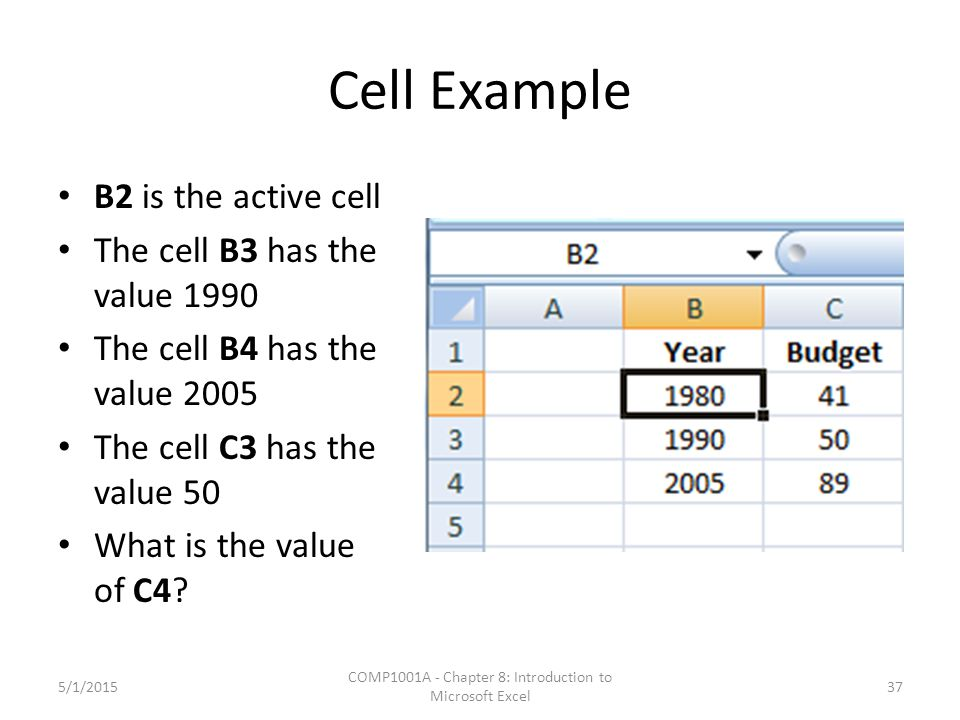 Cell Example B2 is the active cell The cell B3 has the value 1990 The cell B4 has the value 2005 The cell C3 has the value 50 What is the value of C4?