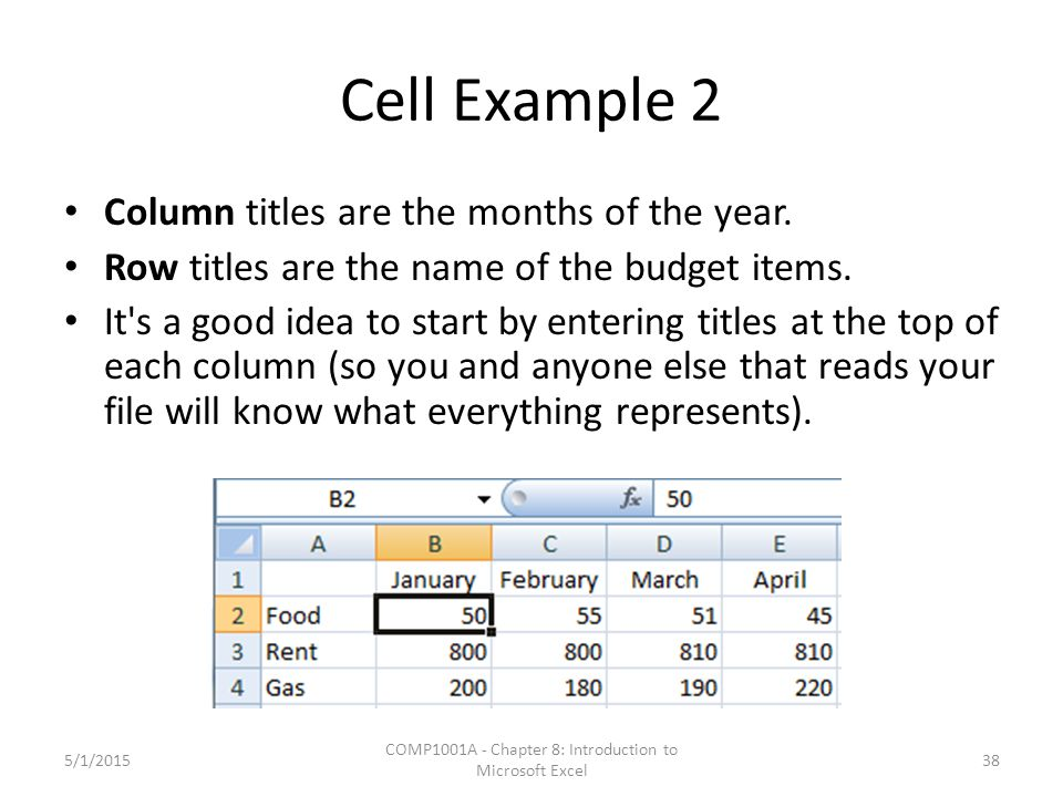 Cell Example 2 Column titles are the months of the year. Row titles are the name of the budget items. It's a good idea to start by entering titles at