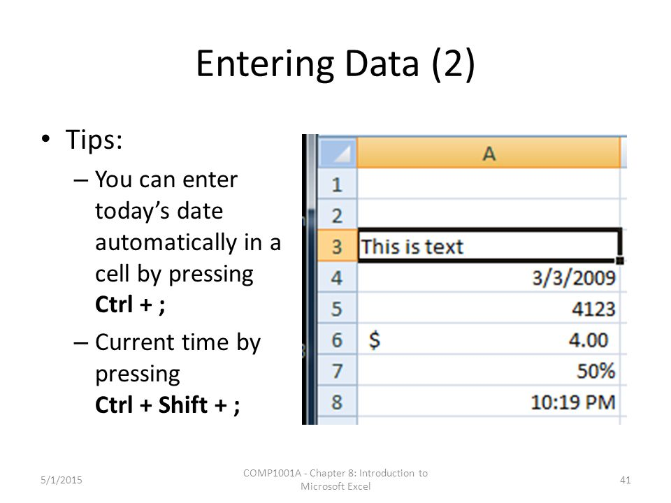 Entering Data (2) Tips: – You can enter today's date automatically in a cell by pressing Ctrl + ; – Current time by pressing Ctrl + Shift + ; 5/1/2015