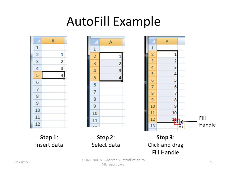 AutoFill Example 5/1/2015 COMP1001A - Chapter 8: Introduction to Microsoft Excel 45 Step 1: Insert data Step 2: Select data Step 3: Click and drag Fil