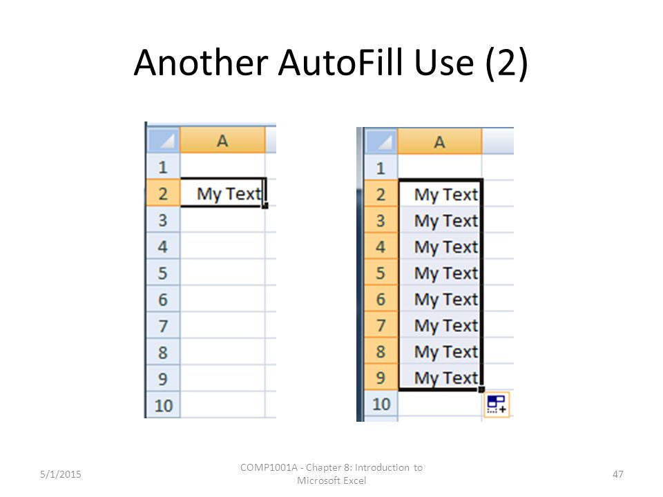 Another AutoFill Use (2) 5/1/2015 COMP1001A - Chapter 8: Introduction to Microsoft Excel 47