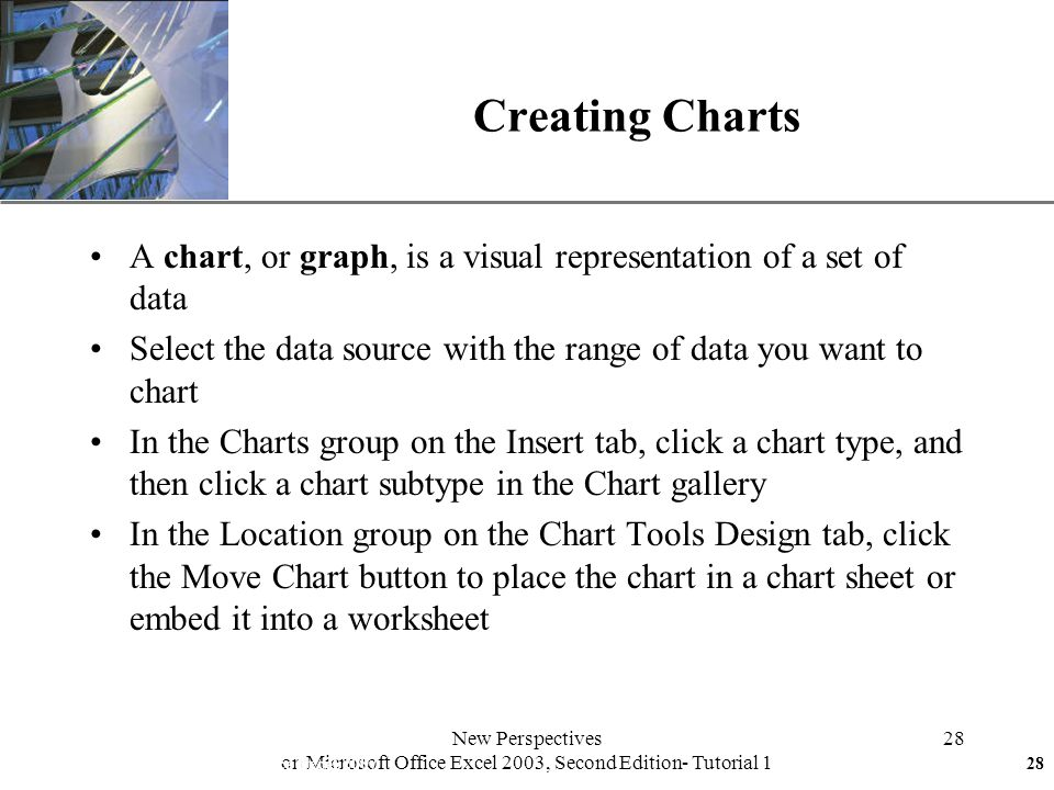 XP New Perspectives on Microsoft Office Excel 2003, Second Edition- Tutorial 1 28 Creating Charts A chart, or graph, is a visual representation of a set of data Select the data source with the range of data you want to chart In the Charts group on the Insert tab, click a chart type, and then click a chart subtype in the Chart gallery In the Location group on the Chart Tools Design tab, click the Move Chart button to place the chart in a chart sheet or embed it into a worksheet New Perspectives on Microsoft Office Excel 200728