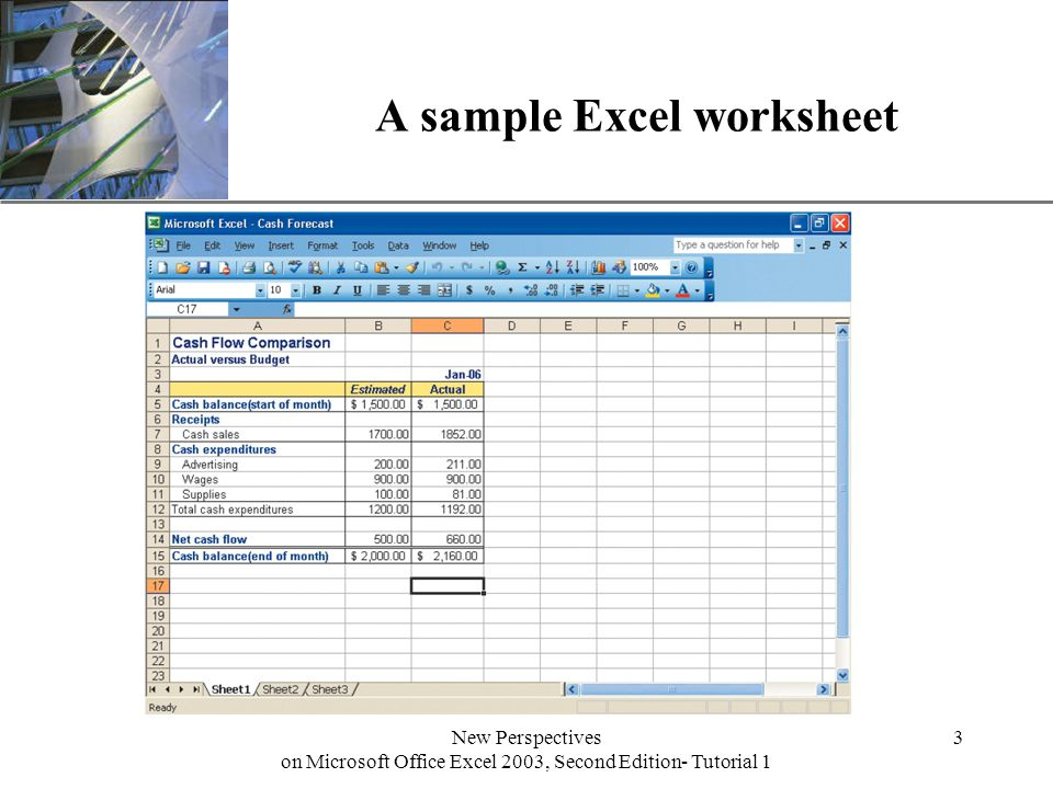 XP New Perspectives on Microsoft Office Excel 2003, Second Edition- Tutorial 1 3 A sample Excel worksheet