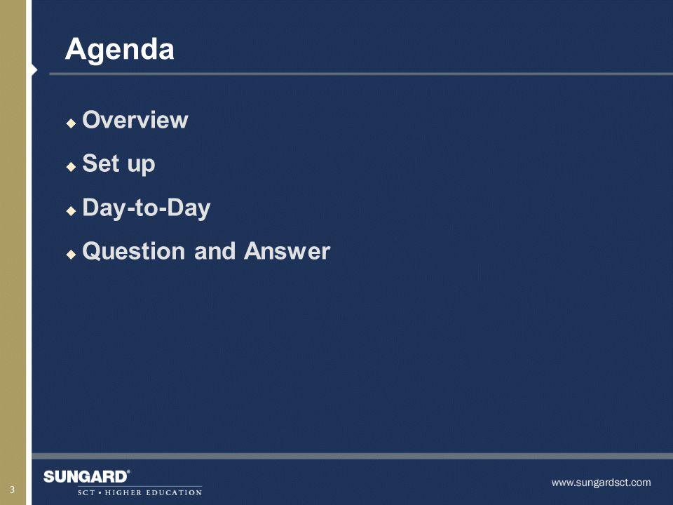 3 Agenda u Overview u Set up u Day-to-Day u Question and Answer