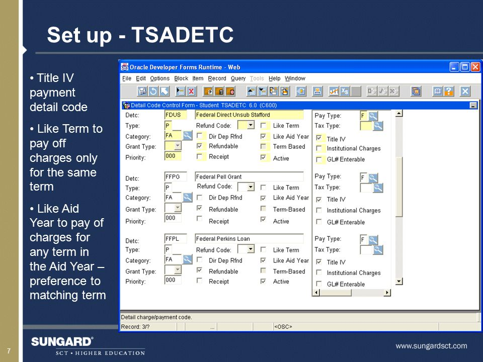 8 Set up - TSADETC Institutional Charge detailcode C in the Type field Select the InstitutionalCharge checkbox