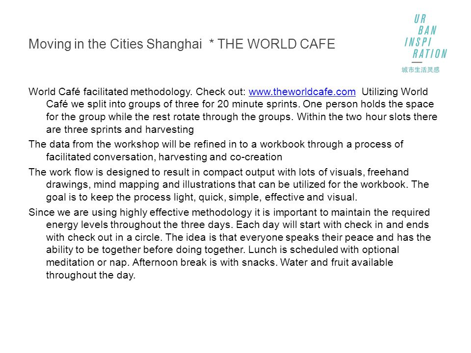 Moving in the Cities Shanghai * THE WORLD CAFE World Café facilitated methodology.