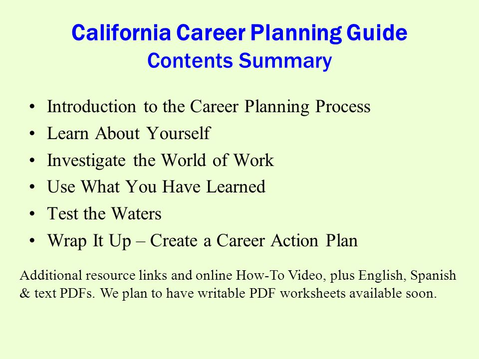 California Career Planning Guide Contents Summary Introduction to the Career Planning Process Learn About Yourself Investigate the World of Work Use What You Have Learned Test the Waters Wrap It Up – Create a Career Action Plan Additional resource links and online How-To Video, plus English, Spanish & text PDFs.