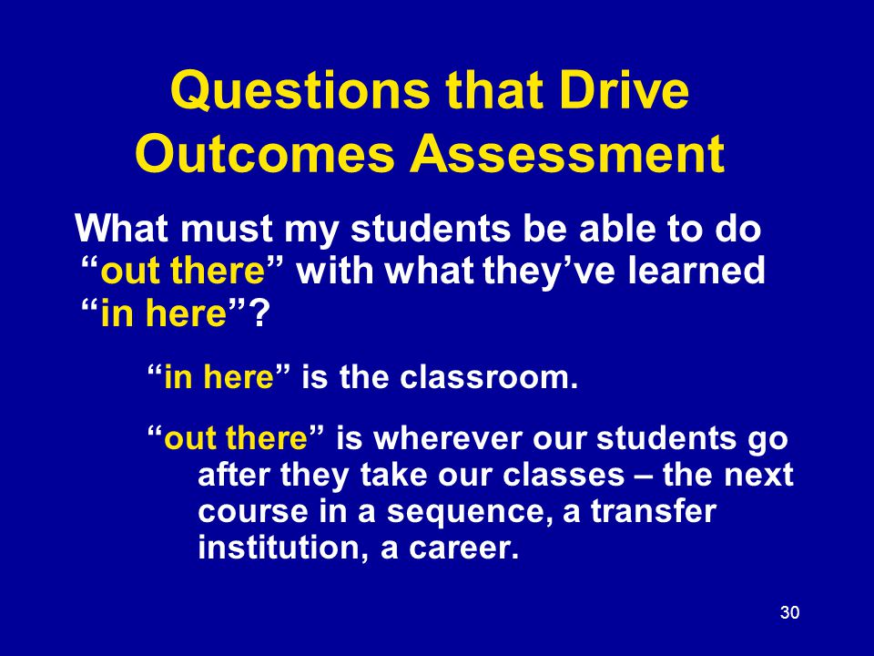 30 Questions that Drive Outcomes Assessment What must my students be able to do out there with what they've learned in here .