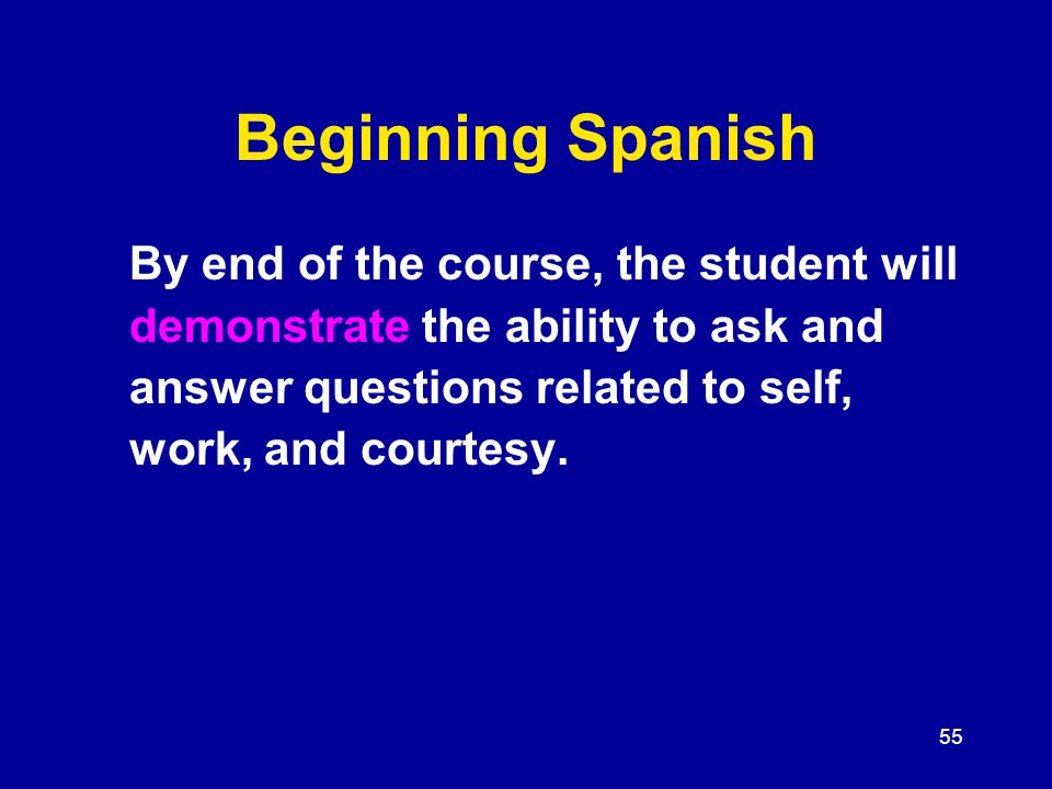 55 Beginning Spanish By end of the course, the student will demonstrate the ability to ask and answer questions related to self, work, and courtesy.