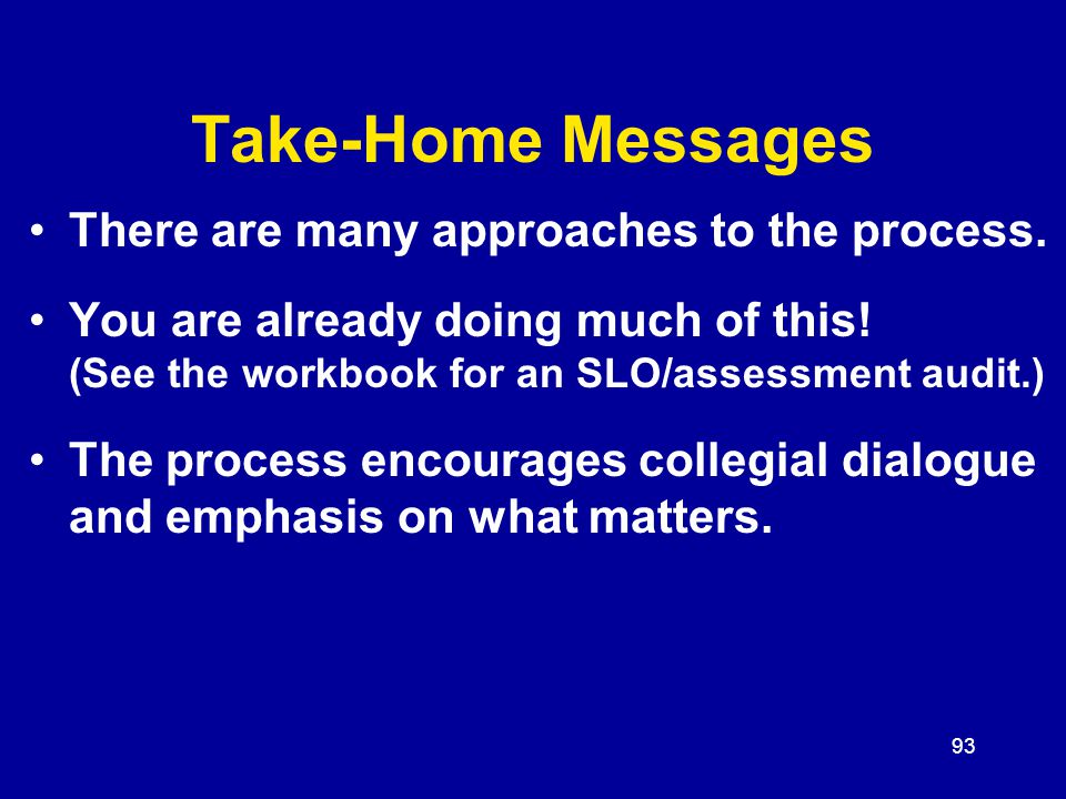 93 Take-Home Messages There are many approaches to the process.
