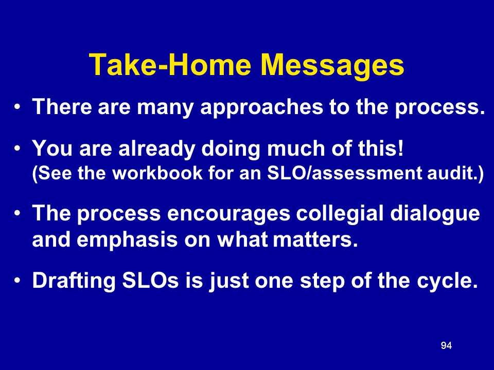 94 Take-Home Messages There are many approaches to the process.