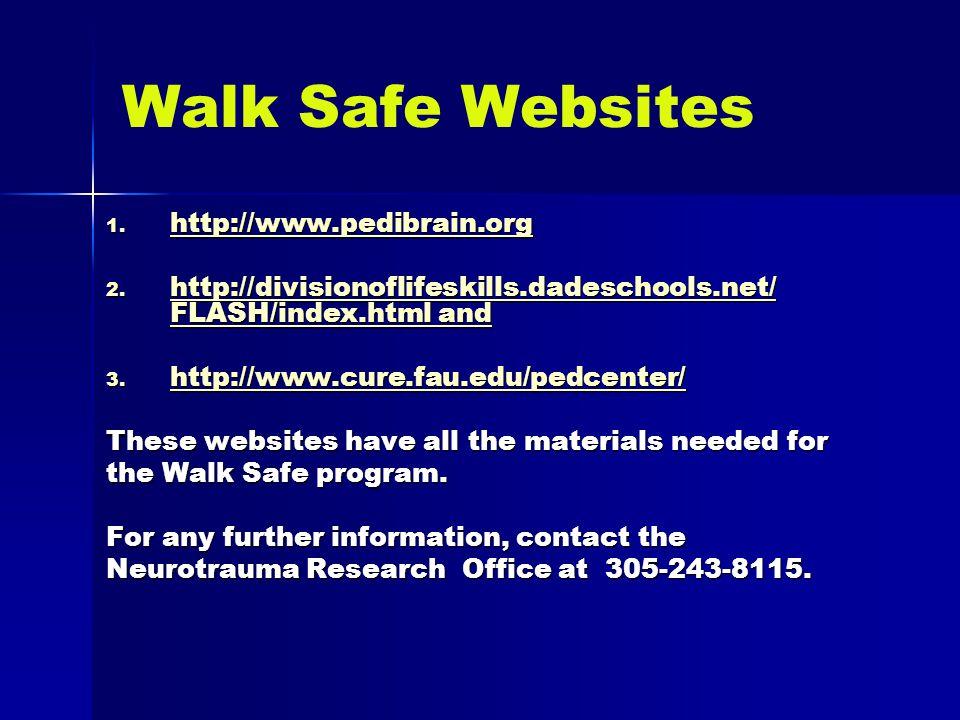 Walk Safe Websites 1.http://www.pedibrain.org http://www.pedibrain.org 2.