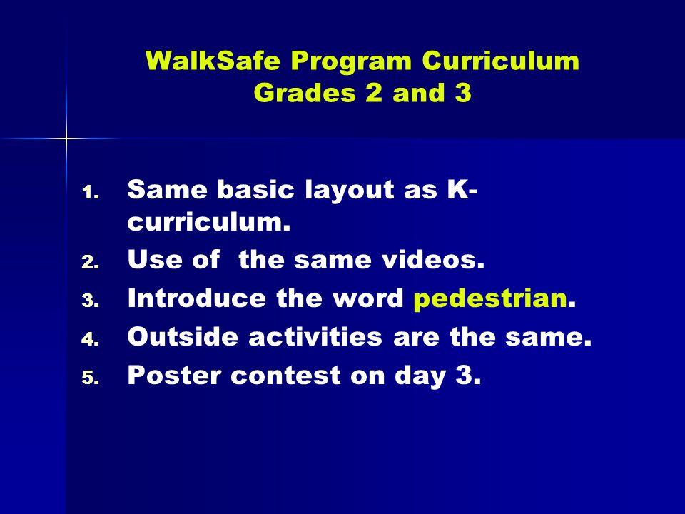 WalkSafe Program Curriculum Grades 2 and 3 1.1. Same basic layout as K- curriculum.