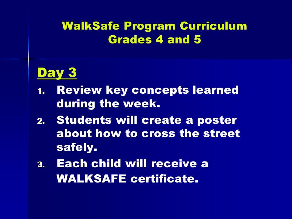 WalkSafe Program Curriculum Grades 4 and 5 Day 3 1.