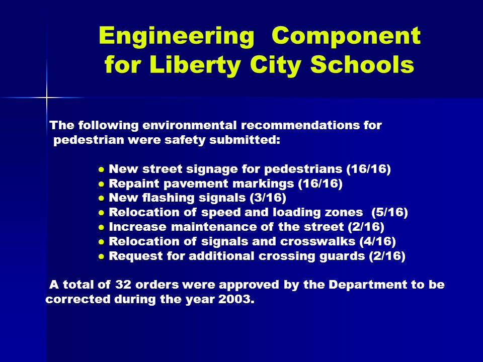 Engineering Component for Liberty City Schools The following environmental recommendations for pedestrian were safety submitted: ● ● New street signage for pedestrians (16/16) ● ● Repaint pavement markings (16/16) ● ● New flashing signals (3/16) ● ● Relocation of speed and loading zones (5/16) ● ● ● ● Increase maintenance of the street (2/16) ● Relocation of signals and crosswalks (4/16) ● Request for additional crossing guards (2/16) A total of 32 orders were approved by the Department to be corrected during the year 2003.