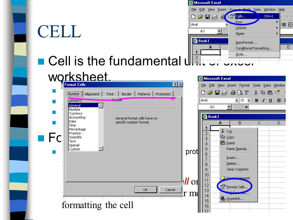 CELL Cell is the fundamental unit of excel worksheet.