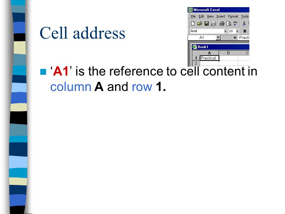 Working with cell range Cell range-- adjacent range and nonadjacent range To refer to a range of cells, enter the reference for the cell in the upper-left corner of the range, a colon (:), and then the reference to the cell in the lower-right corner of the range A3:B4 – adjacent range A1:C4;A7:C11 - non adjacent range F5 Use function key 'F5' to navigate around the worksheet
