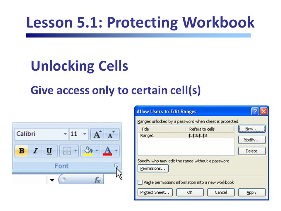 Lesson 5.1: Protecting Workbook Unlocking Cells Give access only to certain cell(s)