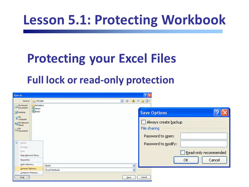 Lesson 5.1: Protecting Workbook Protecting your Excel Files Full lock or read-only protection
