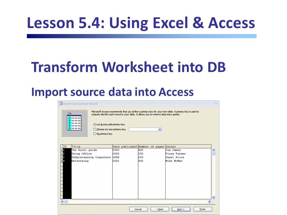 Lesson 5.4: Using Excel & Access Transform Worksheet into DB Import source data into Access