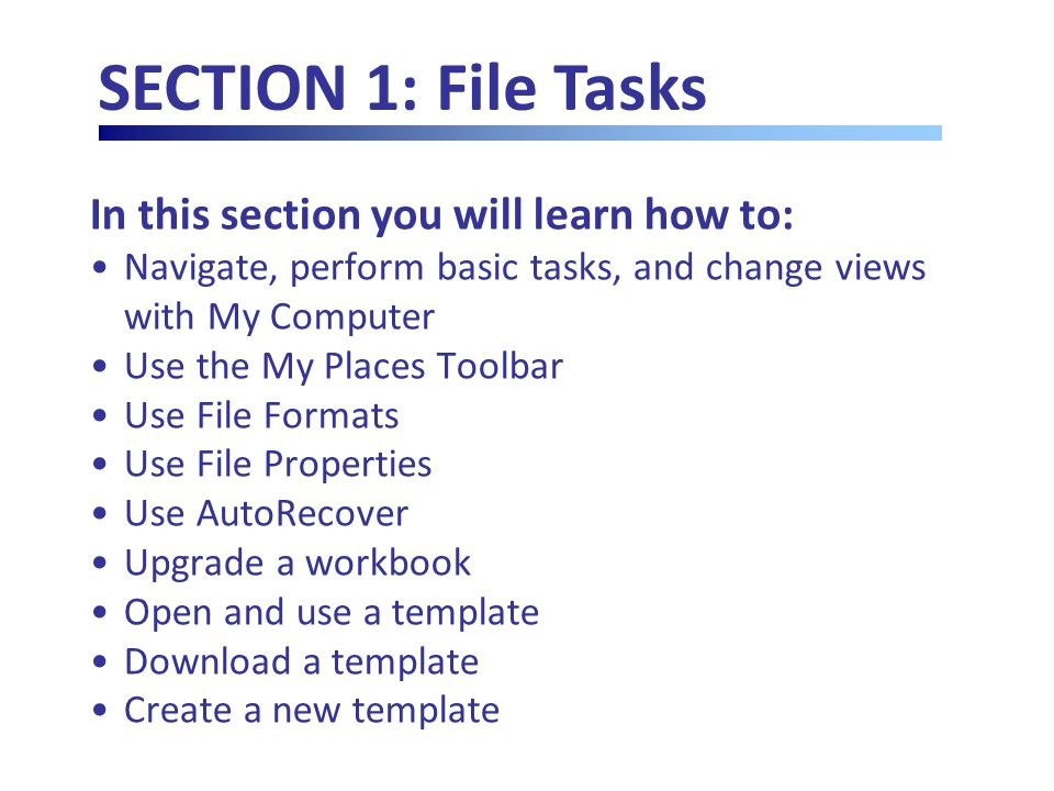 In this section you will learn how to: Navigate, perform basic tasks, and change views with My Computer Use the My Places Toolbar Use File Formats Use File Properties Use AutoRecover Upgrade a workbook Open and use a template Download a template Create a new template SECTION 1: File Tasks