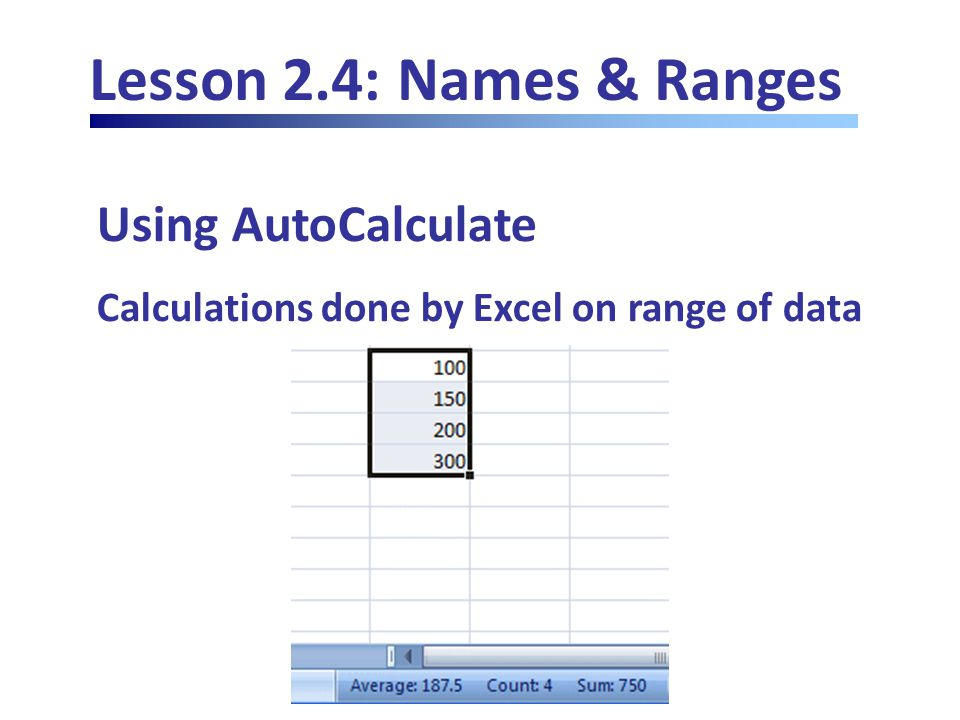 Lesson 2.4: Names & Ranges Using AutoCalculate Calculations done by Excel on range of data