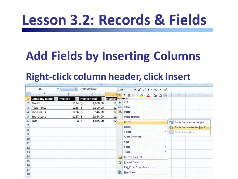 Lesson 3.2: Records & Fields Add Fields by Inserting Columns Right-click column header, click Insert