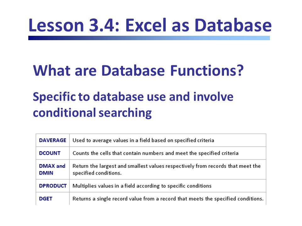 Lesson 3.4: Excel as Database What are Database Functions.