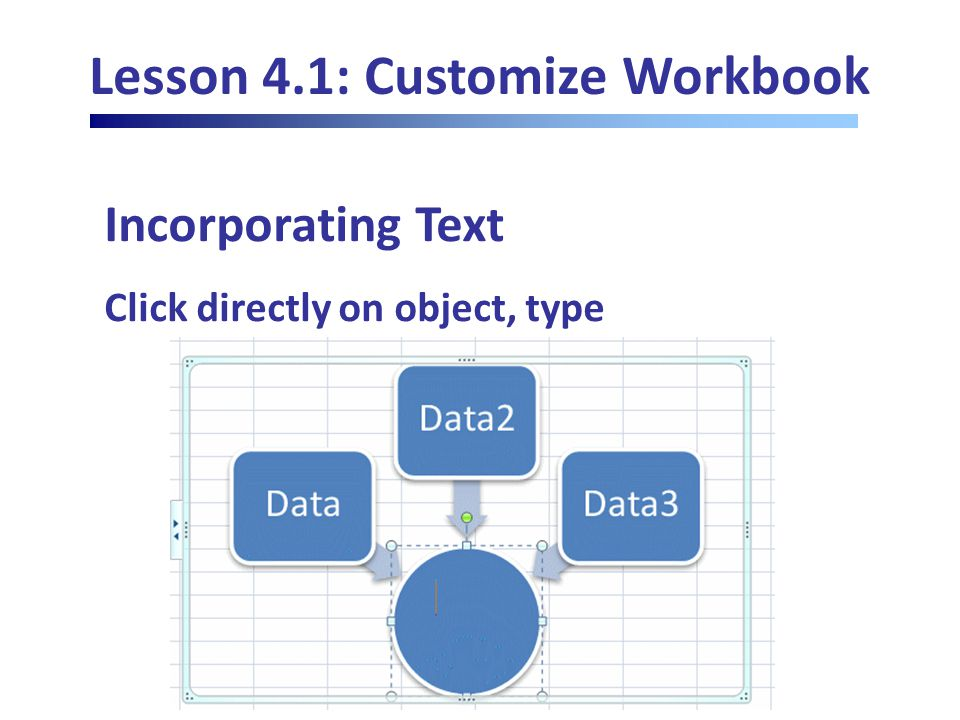 Lesson 4.1: Customize Workbook Incorporating Text Click directly on object, type