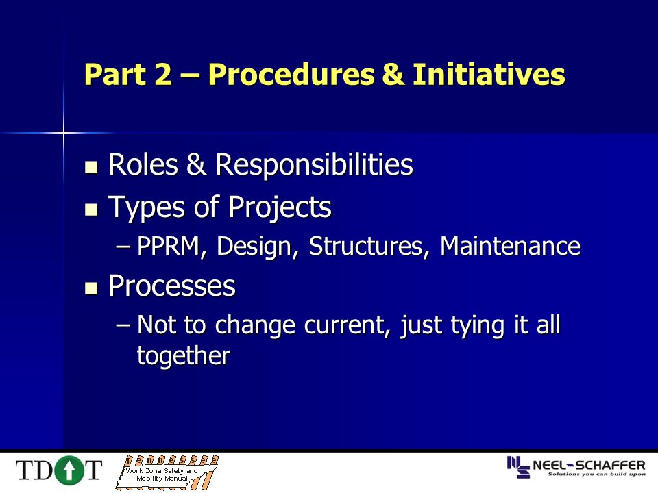 Part 2 – Procedures & Initiatives Roles & Responsibilities Roles & Responsibilities Types of Projects Types of Projects –PPRM, Design, Structures, Mai