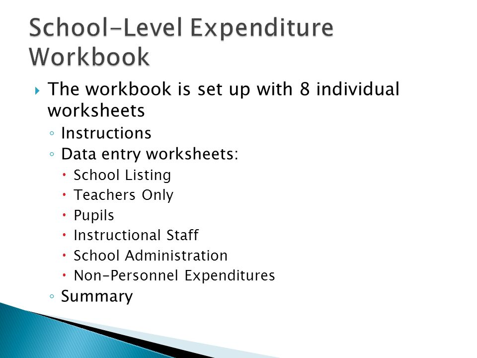  The workbook is set up with 8 individual worksheets ◦ Instructions ◦ Data entry worksheets:  School Listing  Teachers Only  Pupils  Instructional Staff  School Administration  Non-Personnel Expenditures ◦ Summary