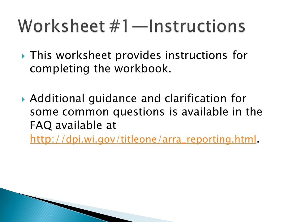  This worksheet provides instructions for completing the workbook.