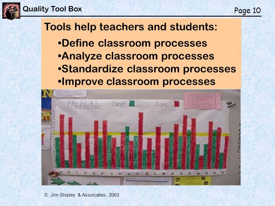 Tools help teachers and students: Define classroom processes Analyze classroom processes Standardize classroom processes Improve classroom processes Page 10 Quality Tool Box  Jim Shipley & Associates, 2003
