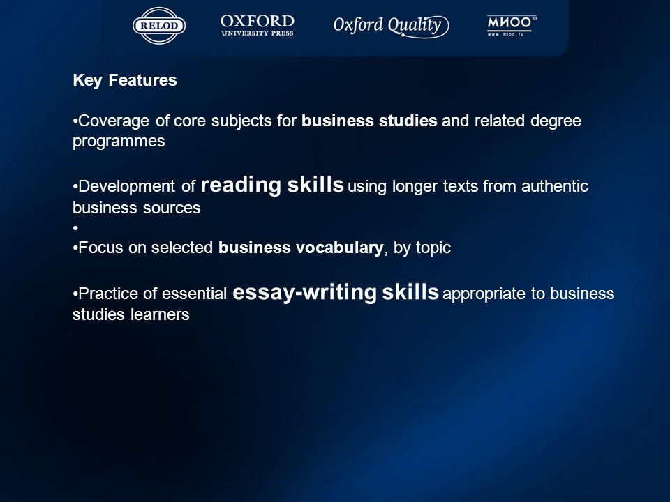 Key Features Coverage of core subjects for business studies and related degree programmes Development of reading skills using longer texts from authentic business sources Focus on selected business vocabulary, by topic Practice of essential essay-writing skills appropriate to business studies learners