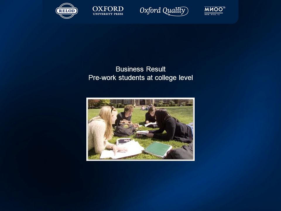 Business Result Pre-work students at college level