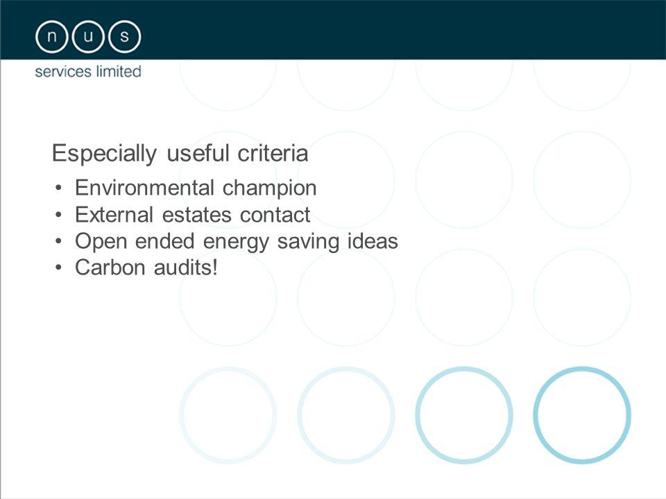 Especially useful criteria Environmental champion External estates contact Open ended energy saving ideas Carbon audits!